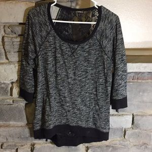 Express Black and White 3/4 Sleeve Top